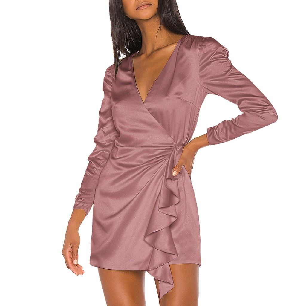 Spring Women Dress Party Night Elegant Vintage Long Sleeve Sexy Dress Casual Bandage Ruffle V Neck Mini Women Clothes Vestidos|Dresses| - AliExpress