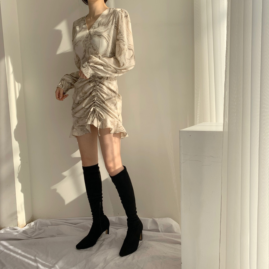 Hd96cb35d230f4ef5803f7903f7c940aec - Autumn V-Neck Long Sleeves Chiffon Drawstring Abstract Print Mini Dress