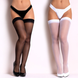 Women Rib Top high knee socks Cuff Sexy Stockings Transparent Silk Stocking Ladies Thigh High black White Stockings Medias