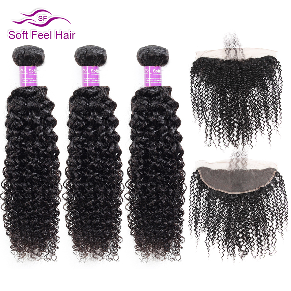 Soft Feel Hair Brazilian Kinky Curly 3/4 Bundles With Frontal Remy Human Hair Weave Lace Frontal Closure With Bundles 4 Pcs/Lot