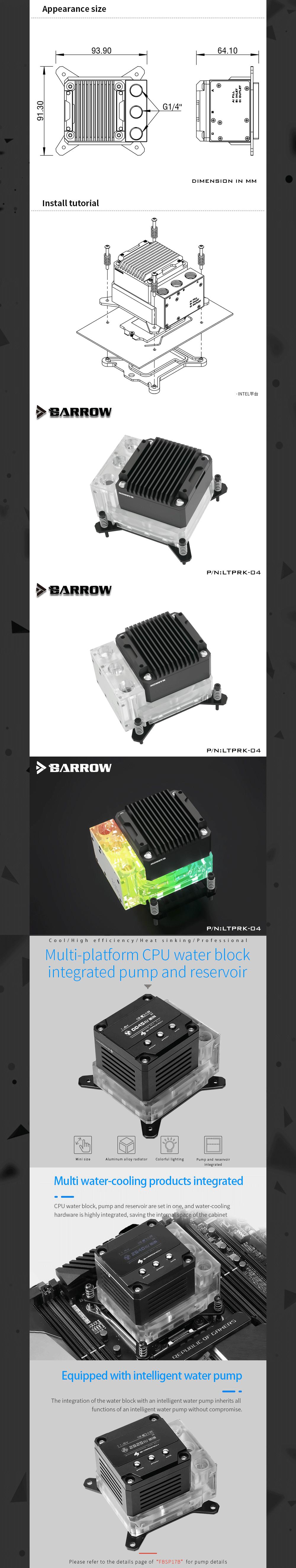 Barrowch Acrylic CPU Block Pump Reservoir 17W PWM Intelligent Pump Three In One OLED Digital Display, FBLTPRK-04/LTPRK-04