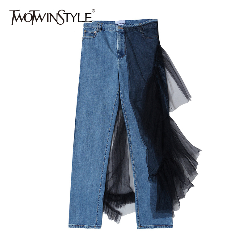 TWOTWINSTYL Casual Patchwork Mesh Full Pant Women High Waist Hit Color Asymmetrical Ruched Jean Female Fashion Clothing 2020 New