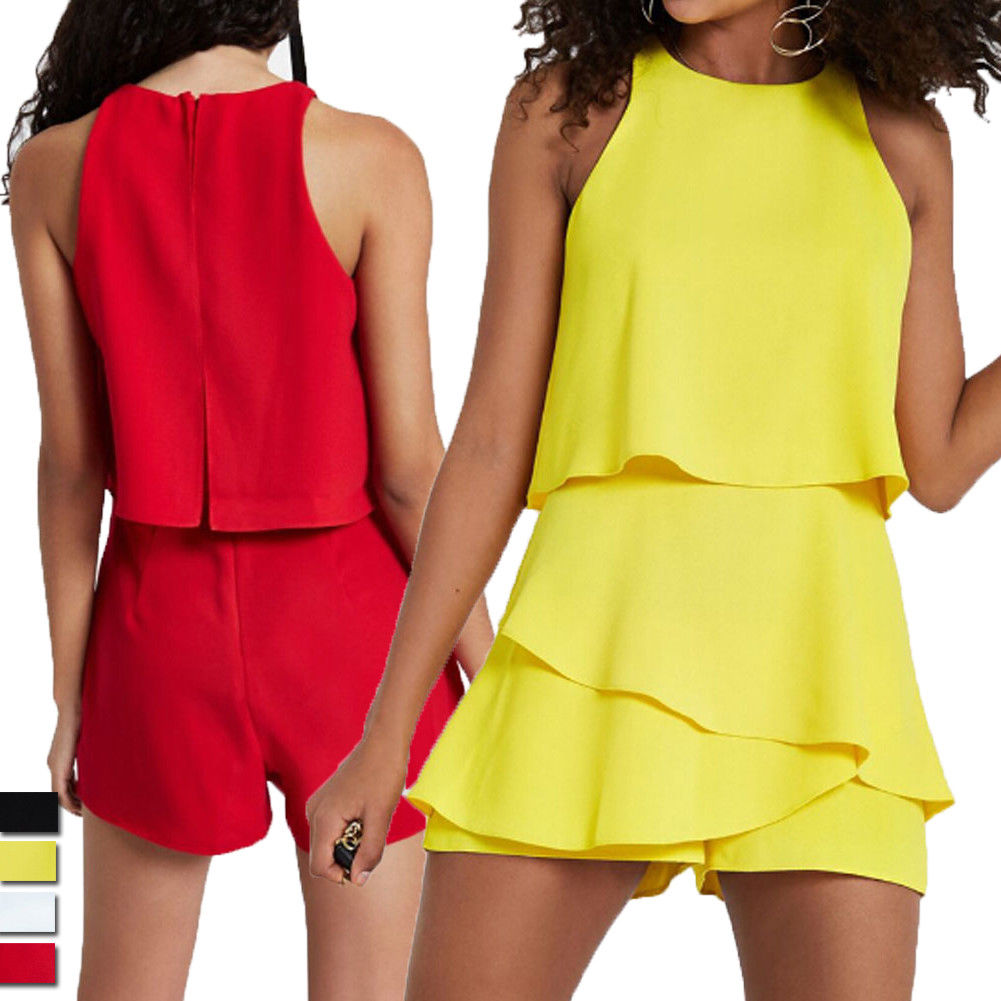 Chiffon Playsuit Women Bodycon Clubwear Solid Loose Romper Summer Ladies Sexy Party Jumpsuit Trousers