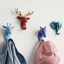 Resina animais cabeça adesivo gancho de parede decorativo roupas cabide para porta saco da cozinha bolsa casaco ganchos titular chave decoração da parede