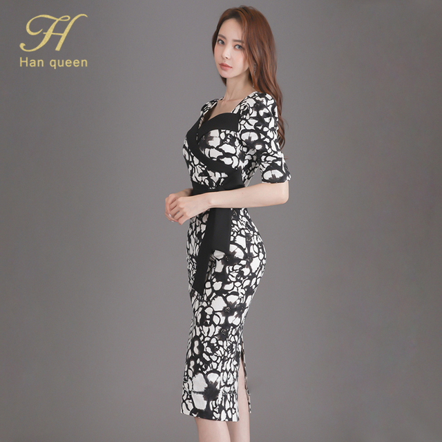 H Han Queen Flower Print Fashion Pencil Dress Women Casual Dresses Office Lady Evening Party Sexy Elegant Simple Series Vestidos 4