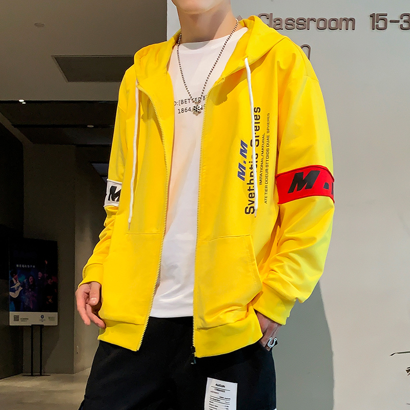 2020 Spring New Yellow Fashion Hooded Sweatshirt Men Hip Hop Zipper Hoodies Sweatshirt Streetwear Clothes
