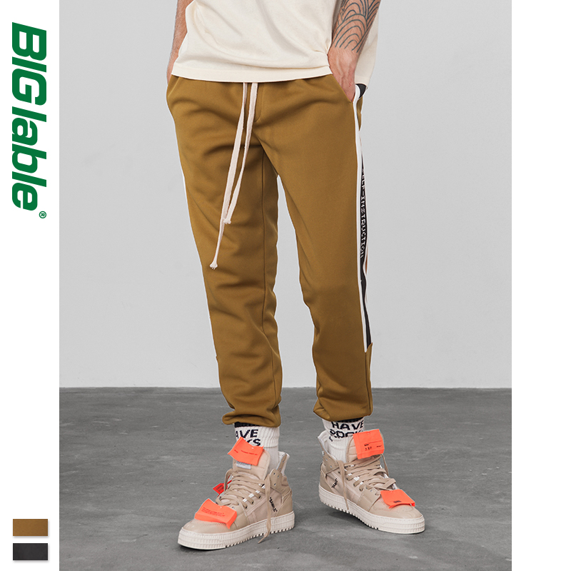 BIG LABLE Men's Sweatpants High Street Fashion Hip Hop Elastic Waist Casual Sweatpants Male Loose Harem Sweatpants 8830W
