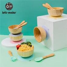 Присоска детская let's make посуда деревянная тренировочная