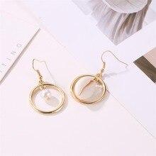 Korea Natural shell Pearl Dangle Earring For Women Simple Style Asymmetry Alloy Drop Earrings Fashion Sweet Female Jewelry 2019