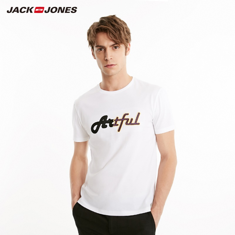 JackJones Men's Spring 100% Cotton Letter Print Embroidery Straight Fit Round Neckline Basic T-shirt| 219101574