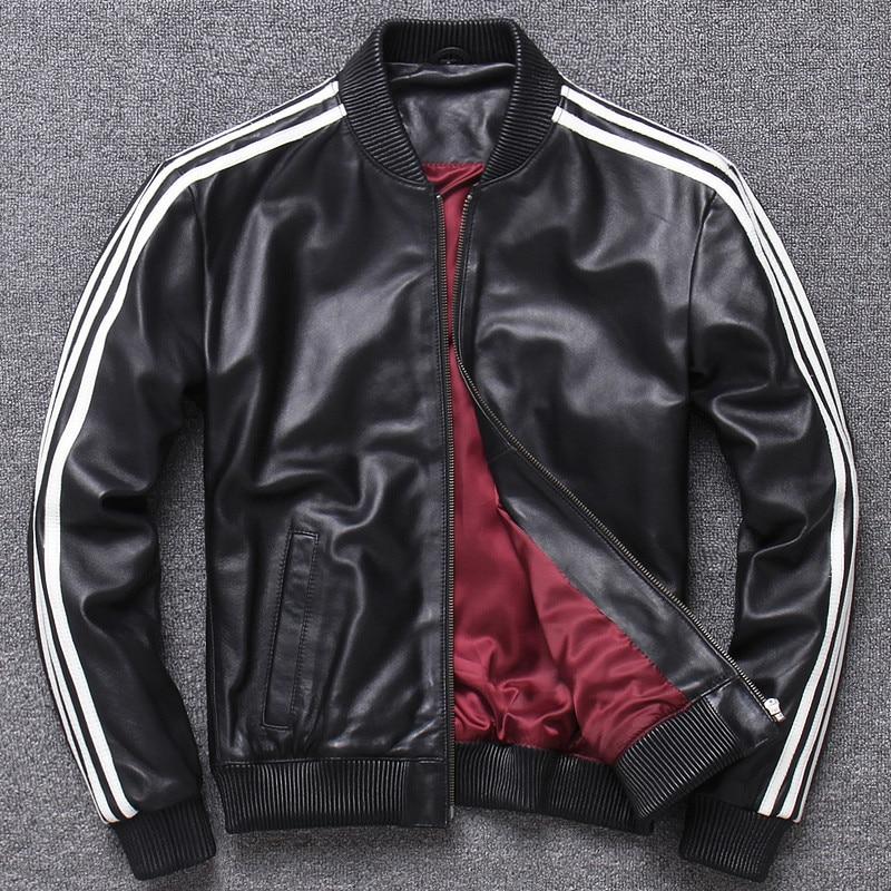 Couple Real Leather Jackets Women And Men Sheep Skin Baseball Coats Uniform Clothing Korean Genuine Leather Jackets XXXL Plus