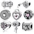 Romantische 925 Sterling Silber Liebe Schloss Herz Schlüssel Perlen Fit Original JIUHAO Charme Armband frauen zubehör Schmuck