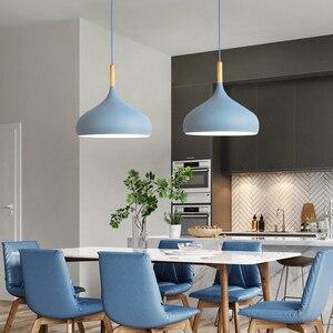 Image 4 - Luces colgantes de Lustre multicolor iluminación colgante de madera para restaurante, accesorios de iluminación de cocina, lámpara LED moderna para Loft E27