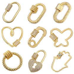 Juya DIY Pendant Carabiner Screw Lock Clasps Supplies For Handmade Women Men Punk Pendant Mesh Chains Jewelry Making Components