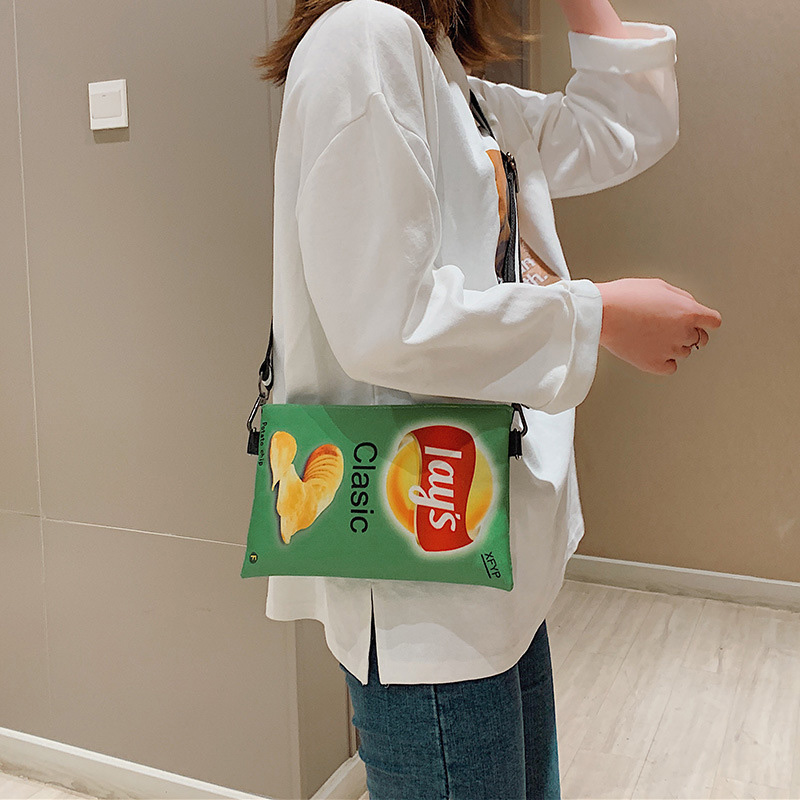 Funny Potato Chips Crossbody Handbag Women Canvas Shoulder Bag Mini Cartoon Printing Girl Envelope Bags Female Clutch Cute Purse