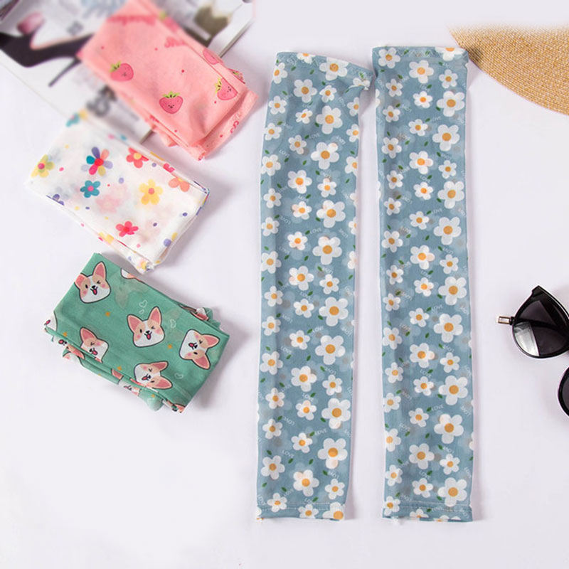Summer Ice Silk Cuff Anti-mosquito Female Printed Armband Cuff Arm Ice Silk Sleeve Gloves For Driving Fashion Accessories
