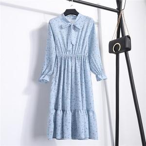 Image 4 - 여자 가을 꽃 인쇄 미디 롱 드레스 우아한 사무실 레이디 Chiffion 드레스 여성 드레스 Vestidos