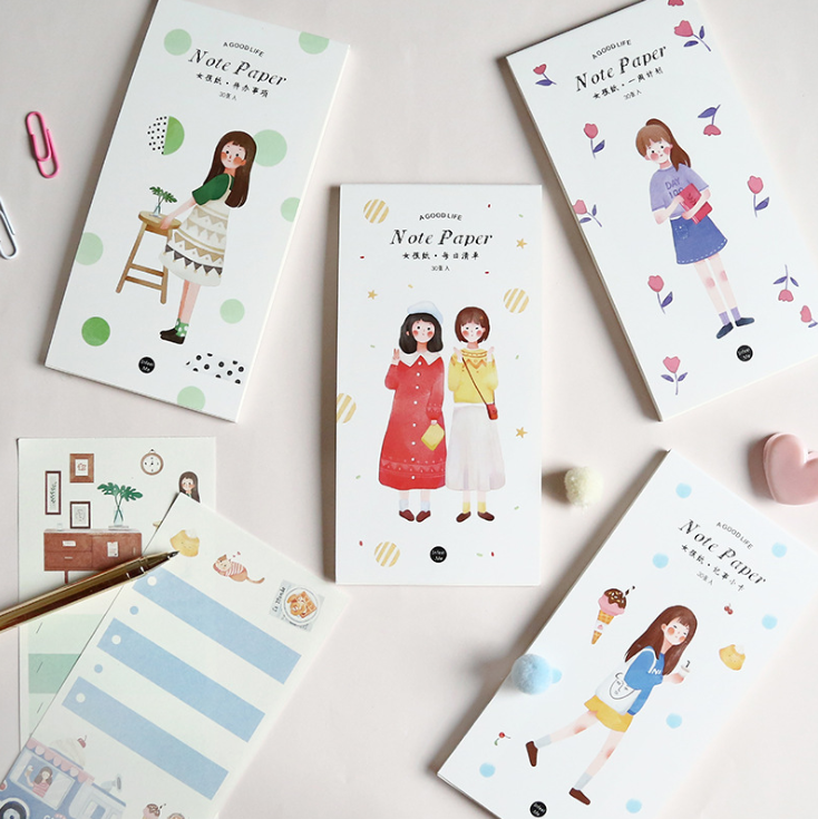 Girl Life Note Pad Memo Pad(1pack=30pieces)