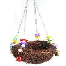 Птичье гнездо птичий домик клетка для животных с колокольчиками попугай жевательный скалолазание Висячие качели новая птица ручной работы из ротанга лоза
