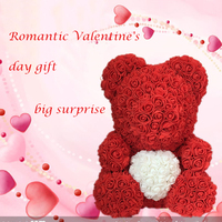 2020 Dropshipping 40cm PE Foam Rose Teddy Bear Artificial Flower in Gift Box for girlfriend New Year Mother Valentines Day Gift