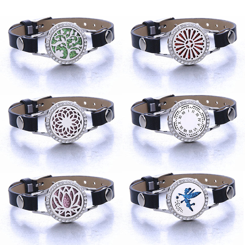 Aromatherapy Bracelet Genuine Leather Stainless Steel Essential Oil Diffuser Locket Bracelet Wristbands Aroma Diffuser Jewelry