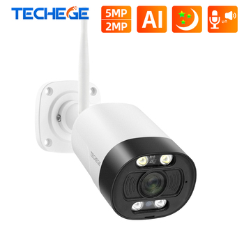 Techege AI Smart 5MP Wireless IP camera Outdoor Onvif Security Camera Color Night Vision Human Detection Two Way Audio TF Card - discount item  54% OFF Video Surveillance