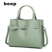 Beep Women leather bag luxury handbags women bags designer cowhide shoulder tote fashion