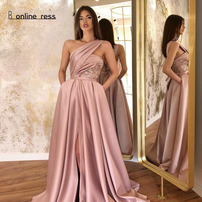 Long Evening Dress Satin A-Line One Shoulder High Split Pleat Evening Dresses Formal Gowns Vestidos De Festa