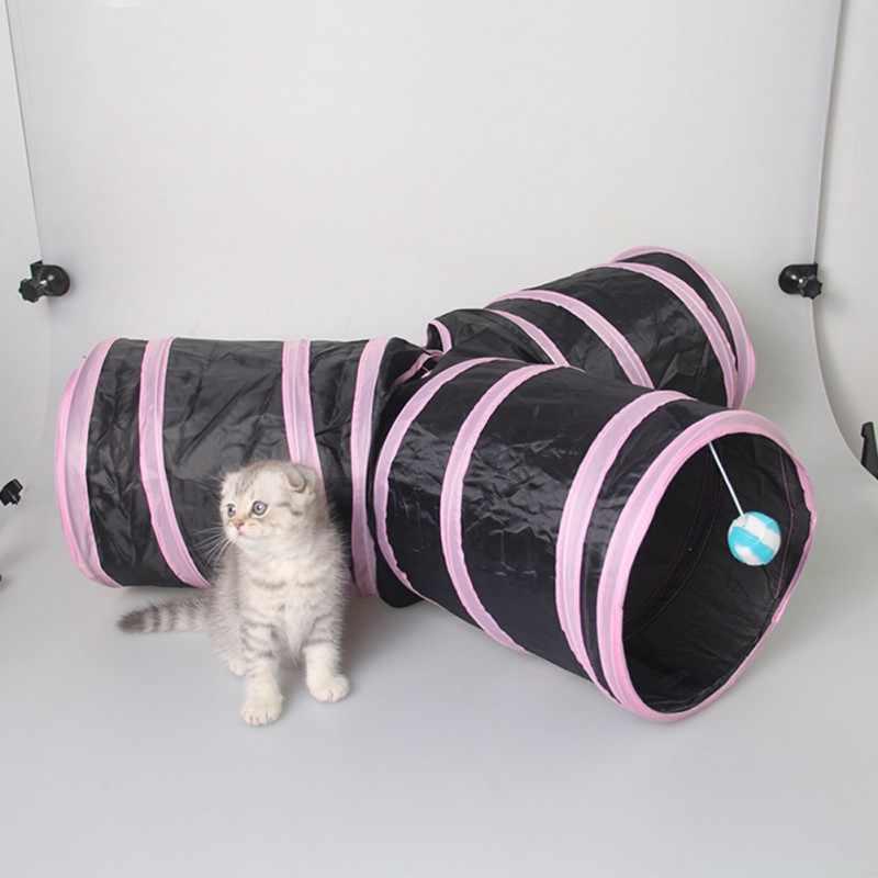 3 חורים מתקפל לחיות מחמד חתול מנהרת מקורה חיצוני לחיות מחמד חתול צעצוע אימון חתול ארנב בעלי החיים לשחק מנהרת צינור עם כדור עבור גורים