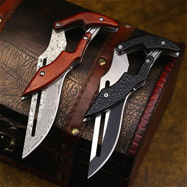 DEHONG  Damascus Mechanical folding Knife Fashion D2 steel folding knife outdoor folding knife pocket knife jungle hunting knife 3