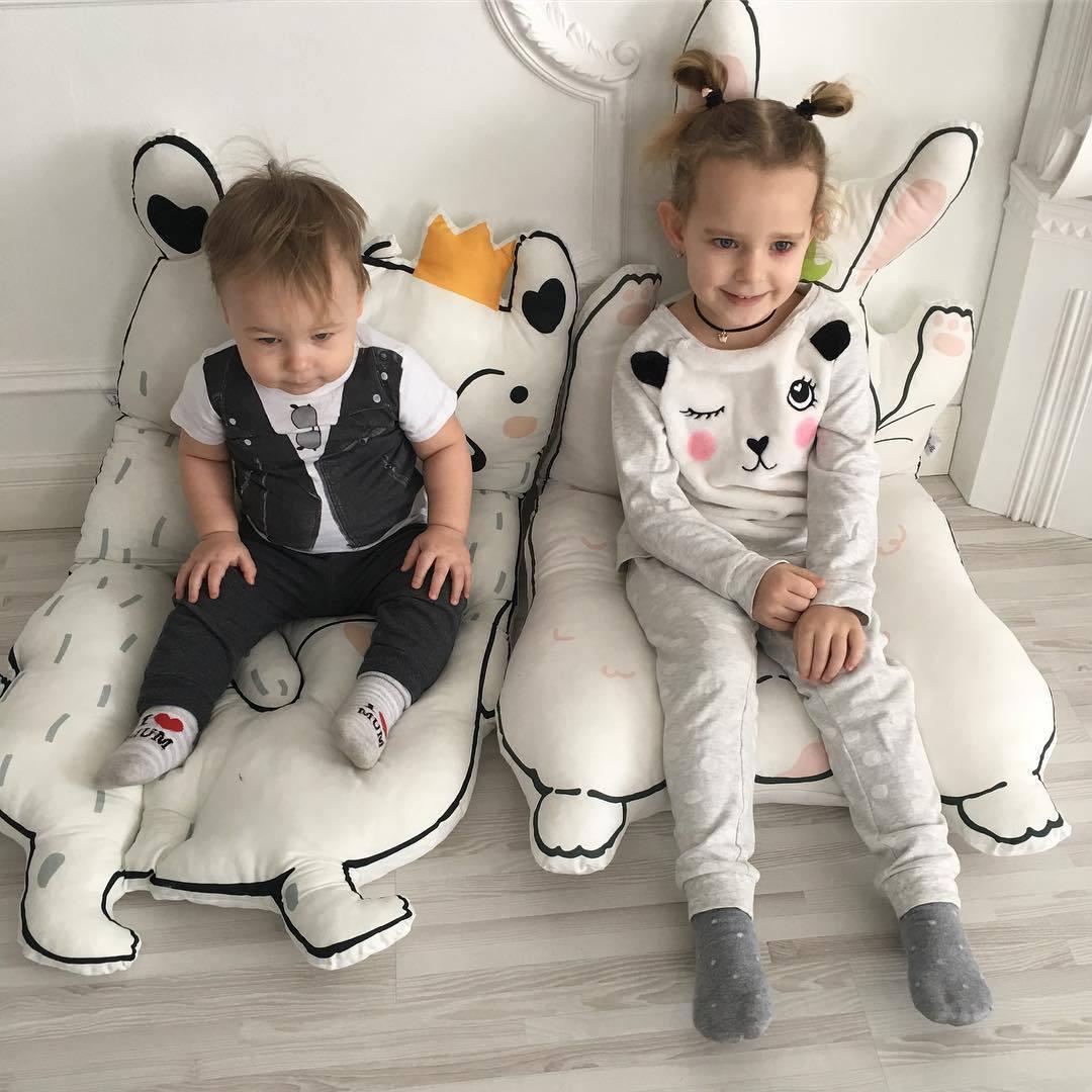 Dessin animé bébé jouer tapis ramper tapis animaux lapin raton laveur forme matelassé enfants couverture Pad enfants lit chambre décor nordique