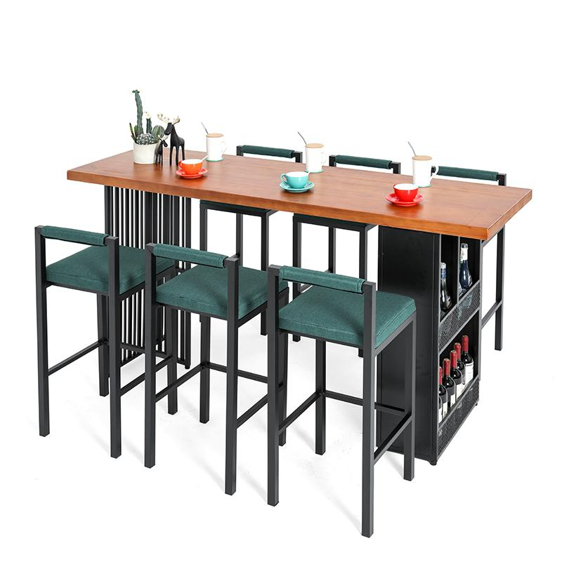 Bar Table Household Coffee Shop Multi Function   And Chair Combination Living Room Simple Wall  Window Solid Wood Hig