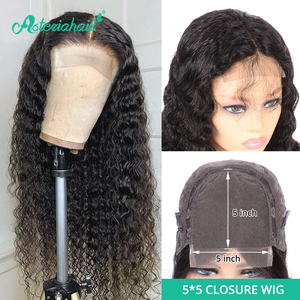 Asteria Deep Wave 5x5 Lace Closure Wigs For Black Women Pre Plucked Brazilian Human Hair Wigs 150 180% Density Remy Hair Wigs(China)