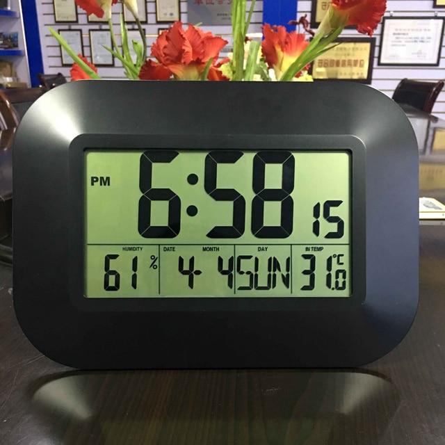 الزخرفية الرقمية ساعة تنبيه الحائط الجدول نتيجة مكتبية درجة الحرارة ميزان الحرارة الرطوبة ساعة للتحكم في الراديو