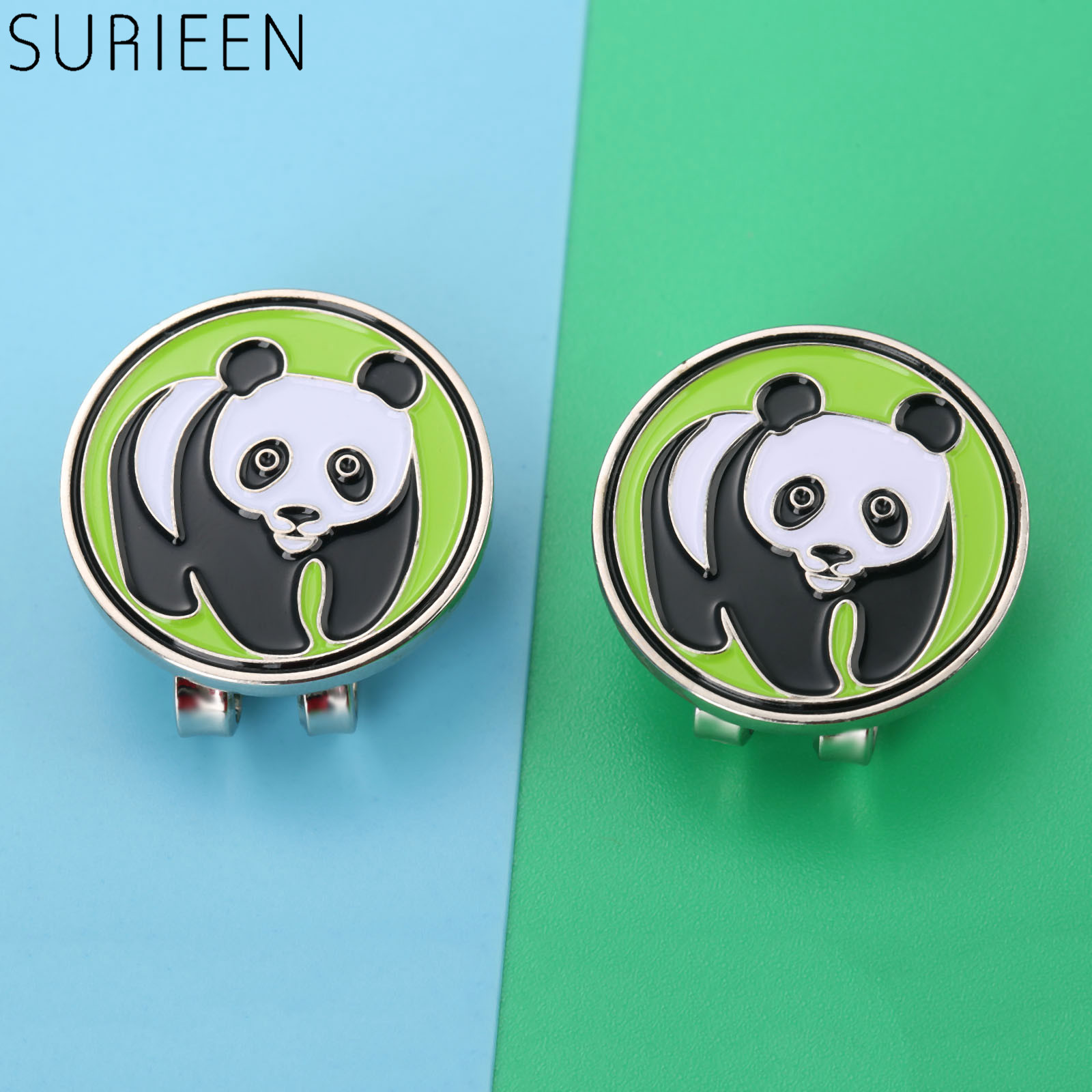SURIEEN NEW Funny Cap Visors Decoration For Golfers Panda Design Metal Golf Ball Mark With Magnetic Hat Clips Golf Accessories