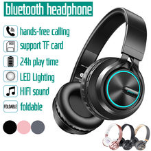 Wireless Headphones bluetooth 4.1 Stereo Foldable Headset LED Light MP3 TF FM Headphones Earphone With Mic For Cellphone(China)