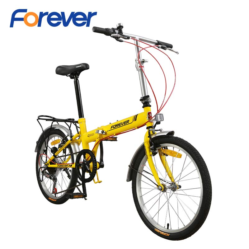 FOREVER Folding Bicycle Steel Special Frame Fold Cycle With V Brake Lightweight Cycle Mini Foldable Bike In 7 Speed 20 Inch MTB