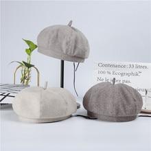 New Wool Beret Ladies Autumn and Winter Korean Fashion Hat Retro British Octagonal Cap Men Women French Hats