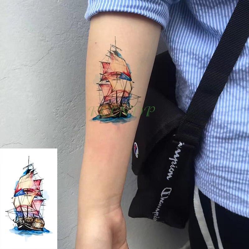 Impermeable A L Eau Temporaire Tatouage Autocollant Bateau Voilier Mer Tatto Flash Tatoo Faux Tatouages Main Jambe Bras Pour Enfants Hommes Femmes Enfant Aliexpress