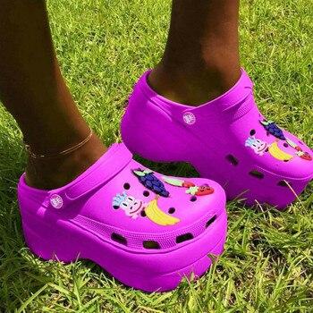 Shoes Woman High Heels Brand New 2020 Thick Platform Holes Summer Women Beach Sandals Slipper