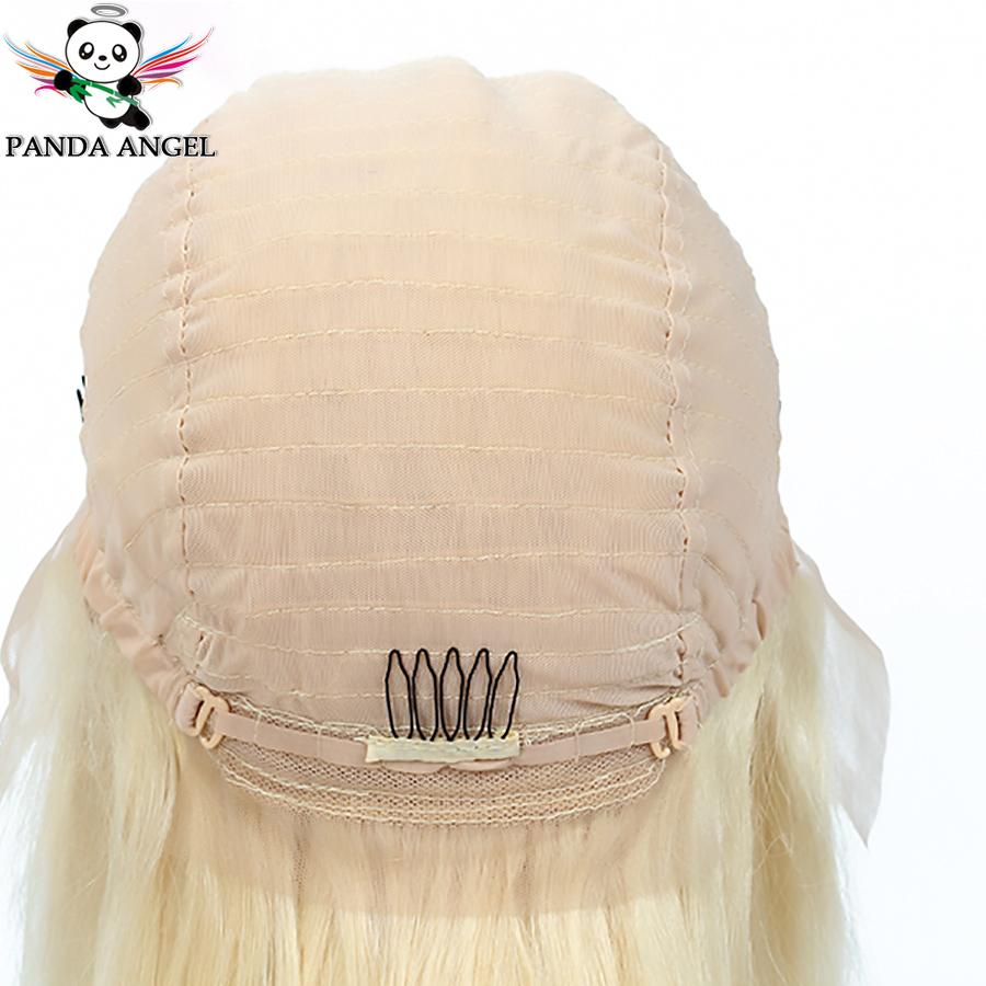 Image 5 - Panda #613 Blonde Lace Frontal Human Hair Wigs Brazilian Straight 13*4 Lace Frontal Wig Pre Plucked Honey Blonde Remy Lace Wigs-in Lace Front Wigs from Hair Extensions & Wigs