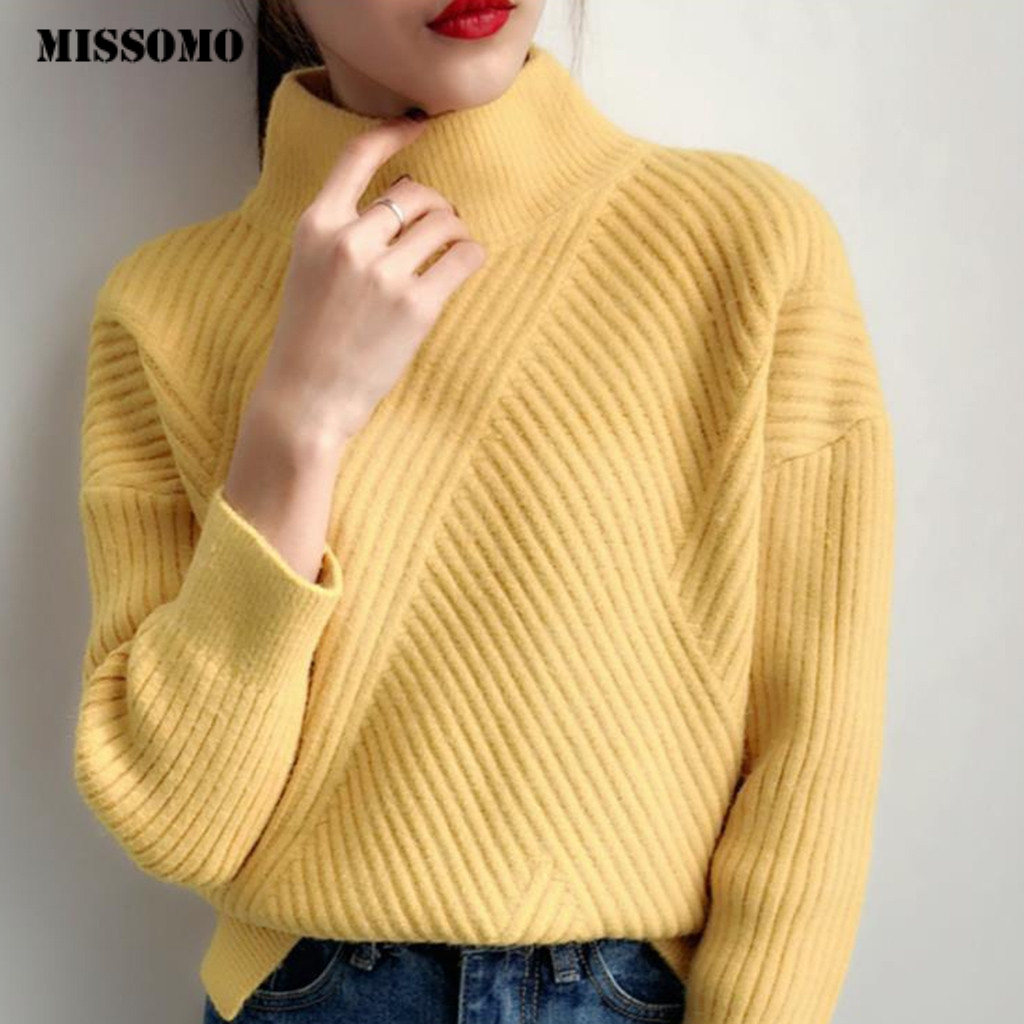MISSOMO Turtleneck Knitted Winter Sweater Women Pullover Autumn Knitted Sweaters Pull Female Jumper Harajuku office wear Tops 10