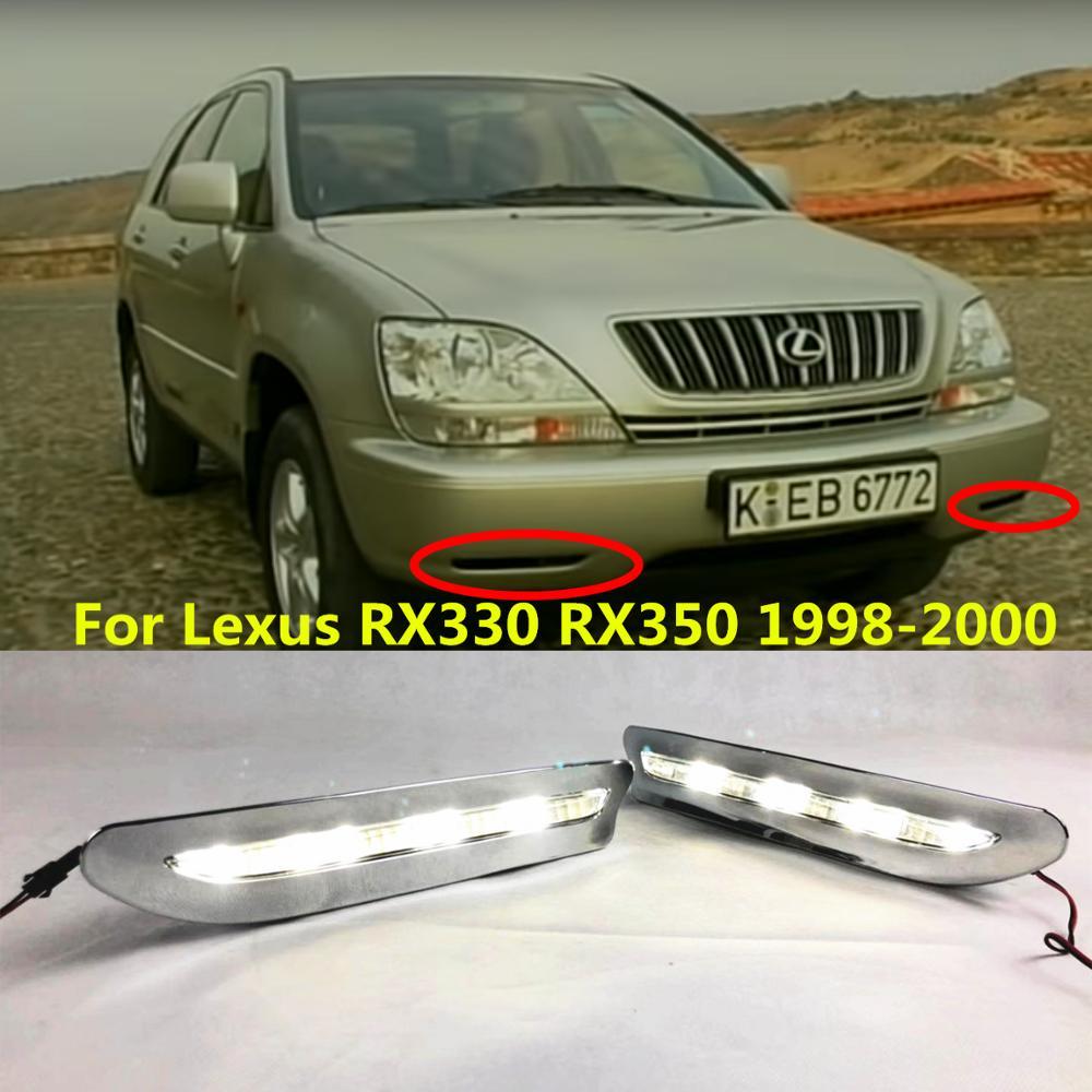 Светодиодный светильник дневного света для Lexus RX300 RX330 RX350 1998 1999 2000 автомобильные аксессуары Водонепроницаемый ABS 12 В DRL противотуманная фара ...