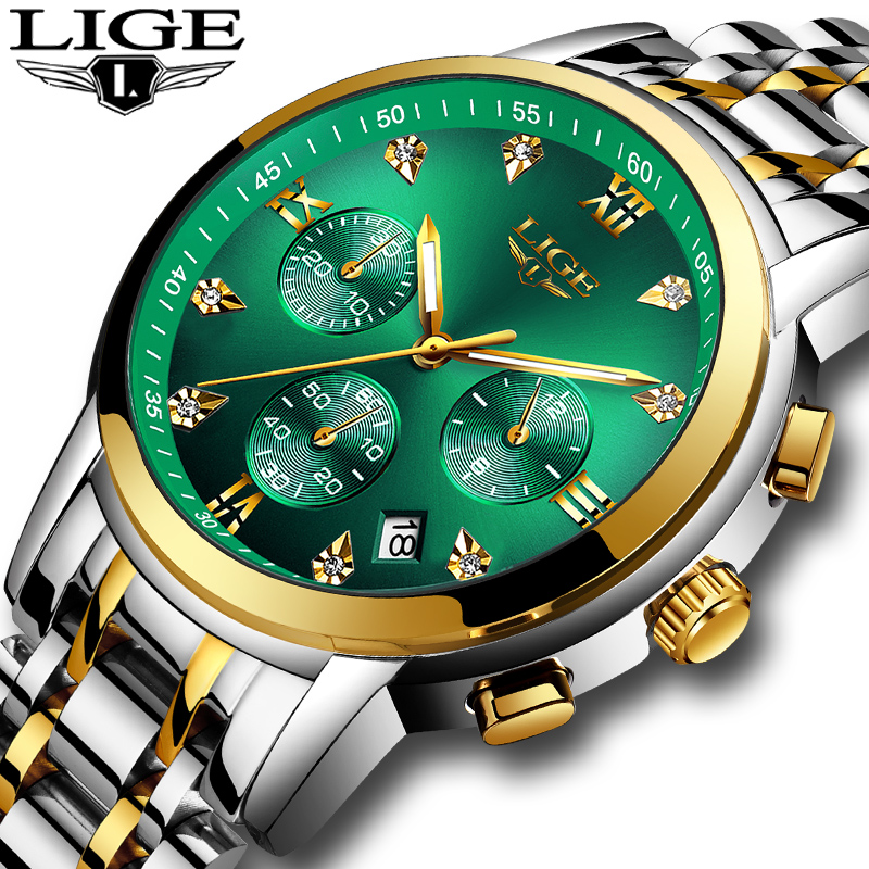 2020 Brand LIGE Green Water Ghost Luxury Men's Watch Waterproof Date Clock  Mens Watches Men Quartz Wristwatch Relogio Masculino
