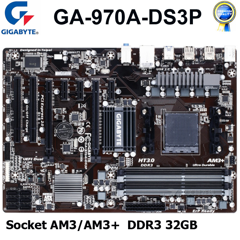 Socket AM3/AM3+ Gigabyte GA-970A-DS3P Original Desktop Motherboard DDR3 32GB PCI-E 2.0 USB3.0 AMD 970 DDR3 Used Mainboard