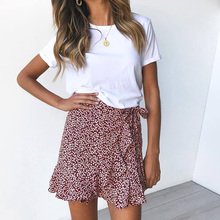 Dot Print Short Mini Skirts Women Summer Ruffle High Waist Ladies Streetwear Sli