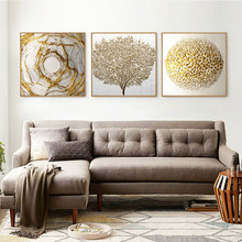 Light luxury style golden leaves and creative geometric art decorate poster cloth paintings for living room and bedroom