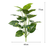 77cm 18 Fork Plastic Fake Palm Tree Large Artificial Plant Monstera Green Tropocal Leafs Bouquet For Home Hawaiian Party Decor