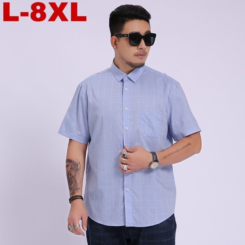 2020 New Men Super Large Fashion Male Cotton Oversized Formal Summer Men's Shirt Short Sleeve High Quality Plus Size 8xl 7xl 6xL