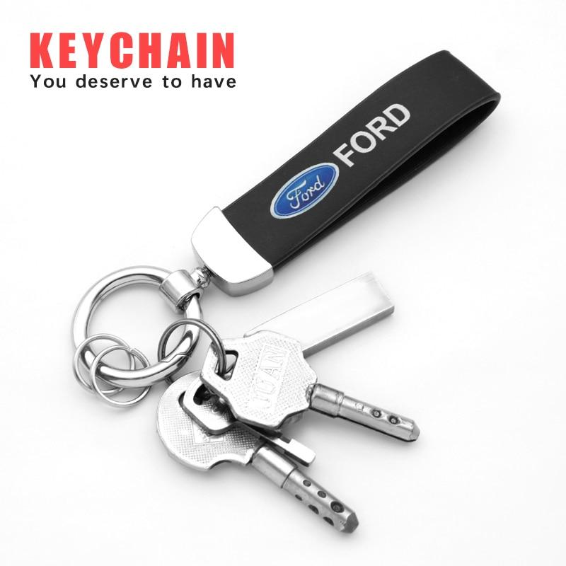 Металлический Кожаный Автомобильный брелок для ключей для Ford Kuga Fiesta Focus Mondeo Mk1 Mk2 Mk3 St Ranger C Max 2 Аксессуары для автостайлинга